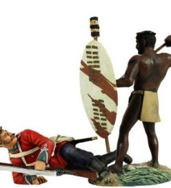 """No Quarter"" Zulu Warrior Spearing Down on British 24th Foot Hand-to-Hand Set"