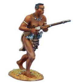 uThulwana Zulu Warrior Advancing with Rifle